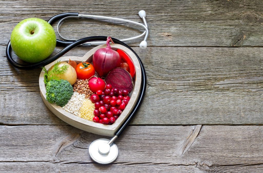 Stethoscope with fruit and veggies