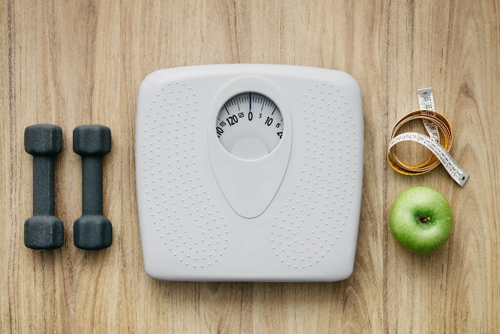Scale with diet and exercise
