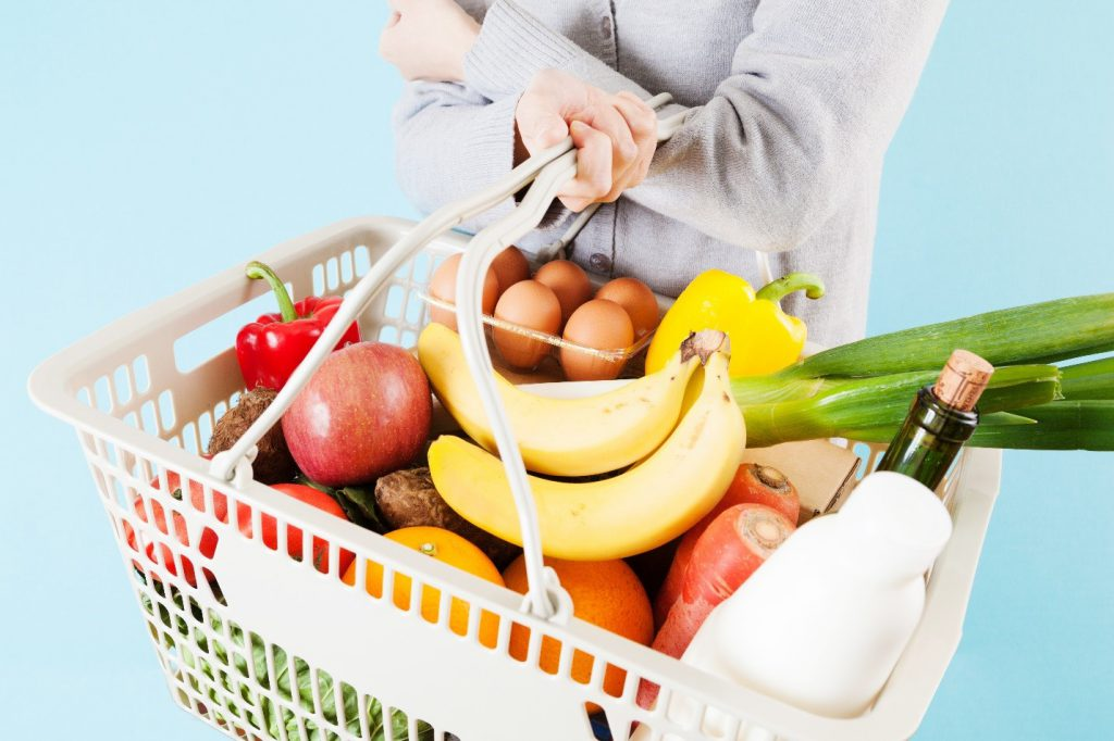 Grocery basket with vegetables