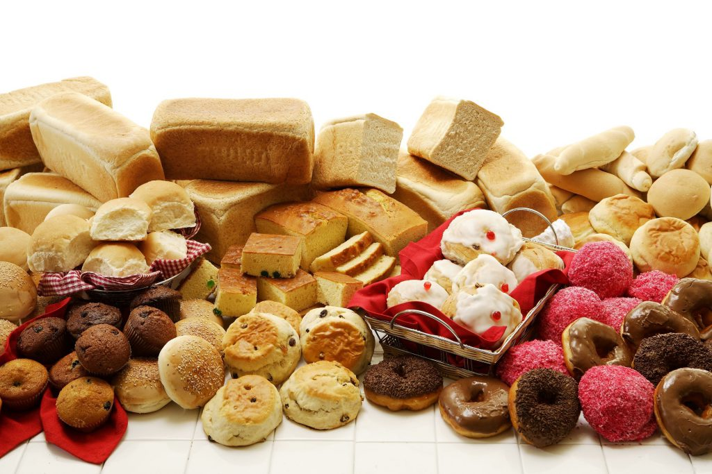Baked goods on a white background