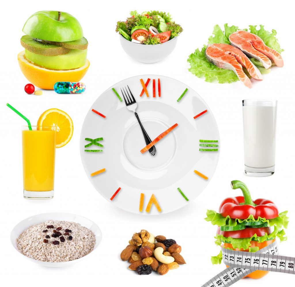 Clock with food surrounding it