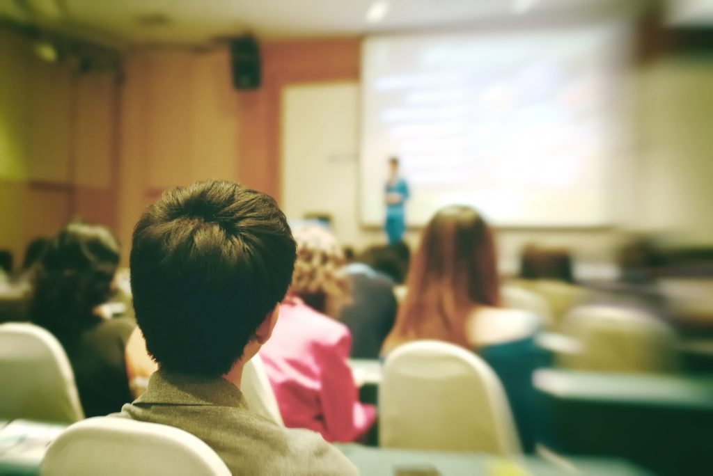 Person in audience's point of view in presentation