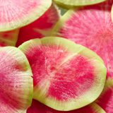 Close up image of watermelon radishes