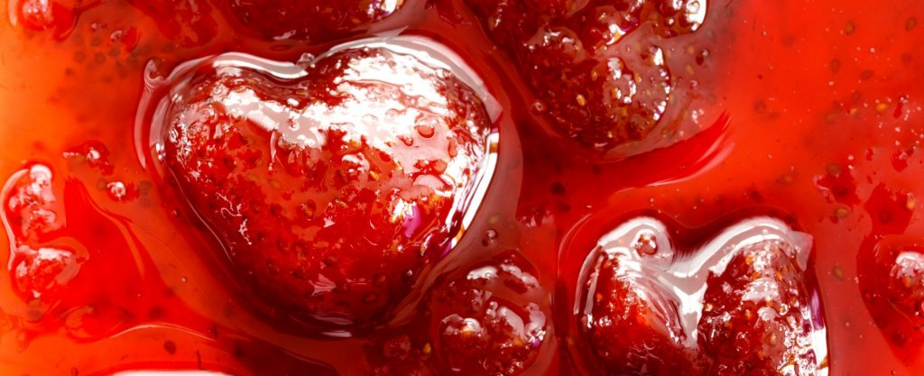 Strawberry jam close up