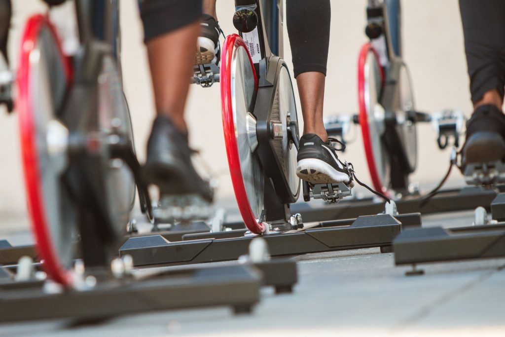 Close up of bike pedals in exercise class