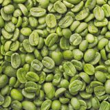 Close up of green coffee beans
