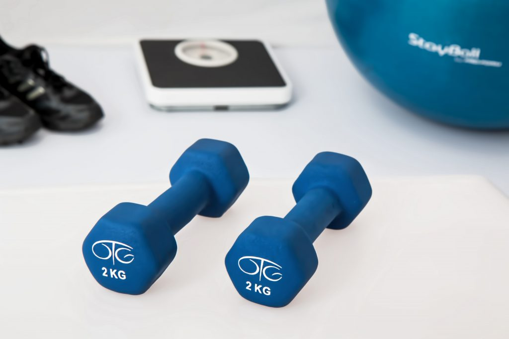 Image of dumbbells and exercise ball